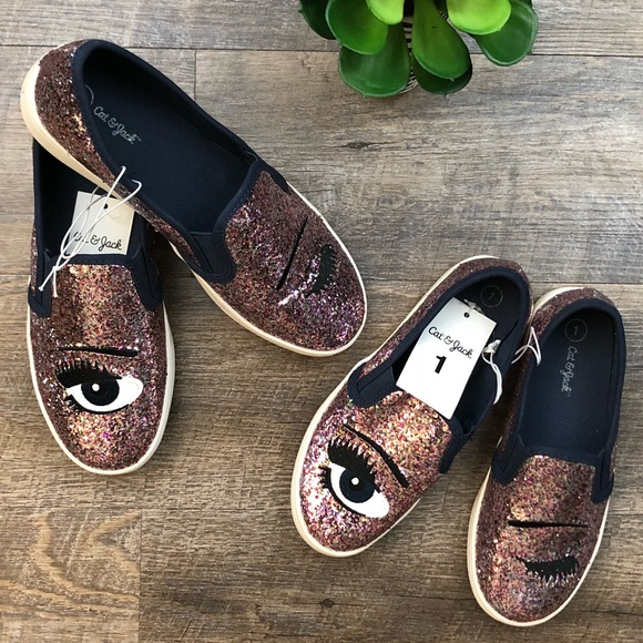 2ae4eded6c85 Cat & Jack Shoes | Girls Cat Jack Target Slip On Sneakers Glitter ...